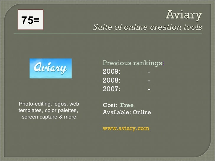75= Previous rankings : 2009:  - 2008:   - 2007:   - Cost:  Free   Available: Online www.aviary.com   Photo-editing, logos...