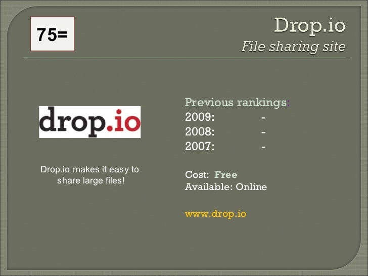 75= Previous rankings : 2009:  - 2008:   - 2007:   - Cost:  Free   Available: Online www.drop.io Drop.io makes it easy to ...