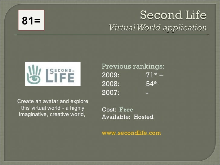 Previous rankings: 2009: 71 st  = 2008:  54 th   2007:  - Cost:  Free Available:  Hosted www.secondlife.com  Create an ava...