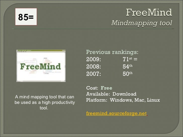 Previous rankings: 2009: 71 st  = 2008:  54 th   2007:  50 th   Cost:  Free Available:  Download Platform:  Windows, Mac, ...