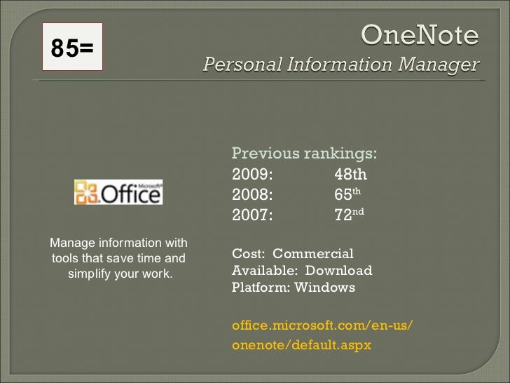 85= Previous rankings: 2009: 48th 2008:  65 th   2007:  72 nd   Cost:  Commercial Available:  Download Platform: Windows o...