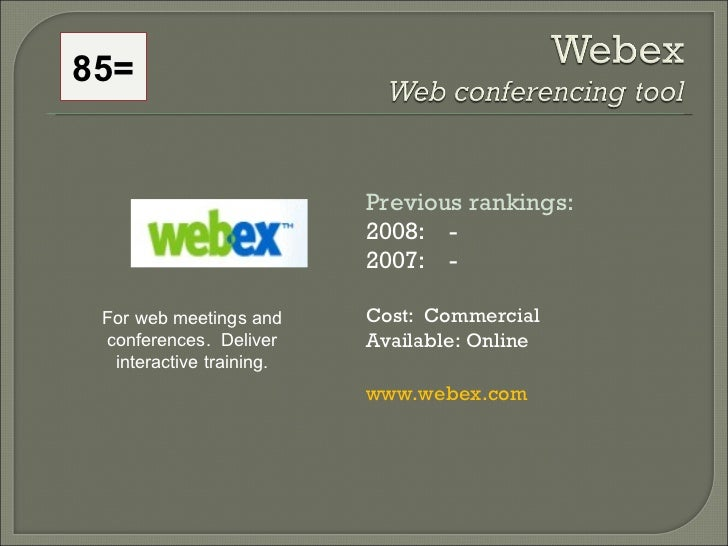 Previous rankings: 2008:  - 2007:  - Cost:  Commercial Available: Online www.webex.com For web meetings and conferences.  ...