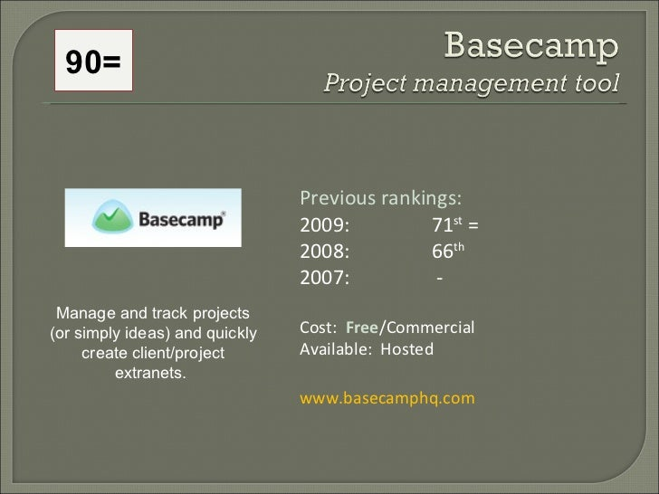 Previous rankings: 2009: 71 st  = 2008:  66 th   2007:   - Cost:  Free /Commercial Available:  Hosted www.basecamphq.com M...