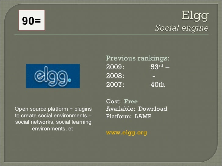 Previous rankings:   2009: 53 rd  = 2008:   - 2007:  40th Cost:  Free Available:  Download Platform:  LAMP www.elgg.org Op...