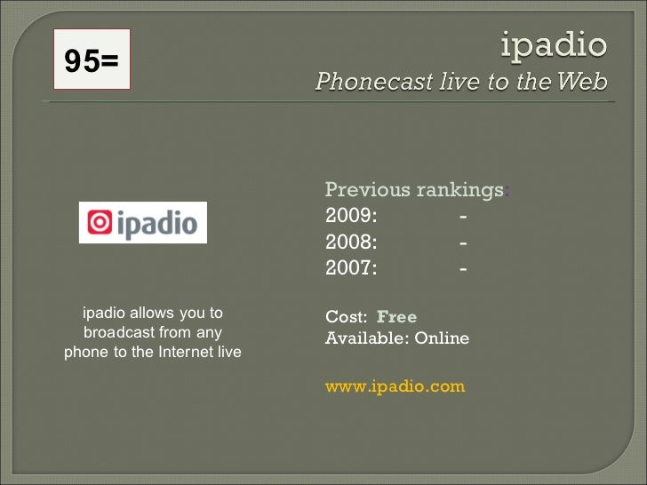 95= ipadio allows you to broadcast from any phone to the Internet live Previous rankings : 2009:  - 2008:   - 2007:   - Co...