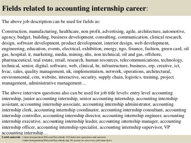 Top 10 accounting internship interview questions and answers – Accounting Intern Job Description