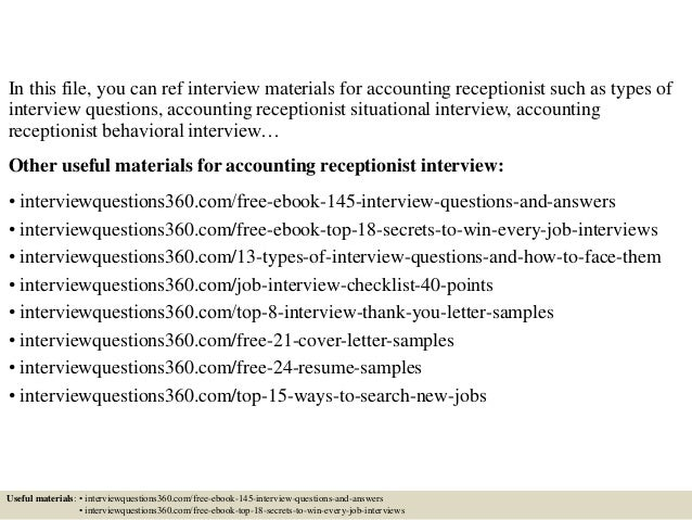 Top 10 accounting receptionist interview questions and answers