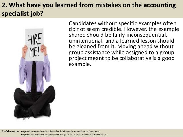 Top 10 accounting specialist interview questions and answers