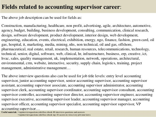 Resume For Accounting Supervisor. accounting supervisor resume ...