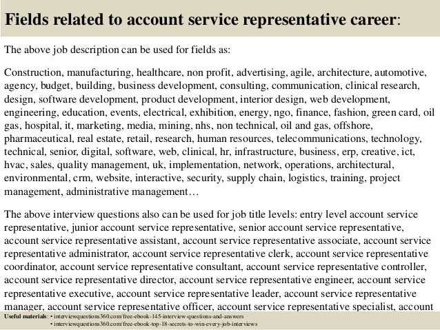 Top 10 account service representative interview questions and answers