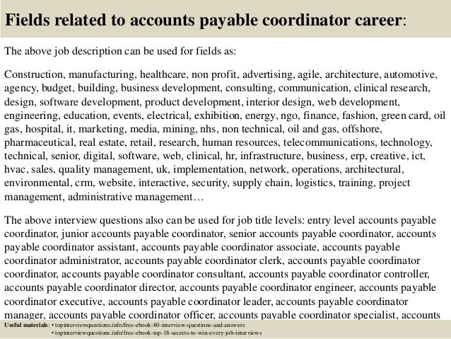 Top 10 accounts payable coordinator interview questions and answers
