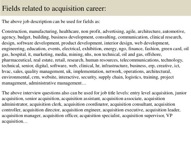 Top 10 acquisition interview questions and answers