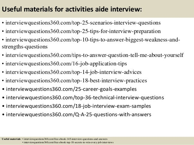 14 Useful Materials For Activities Aide Interview