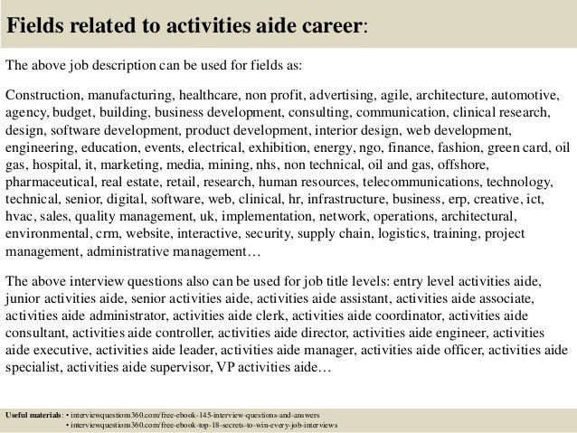18 Fields Related To Activities Aide