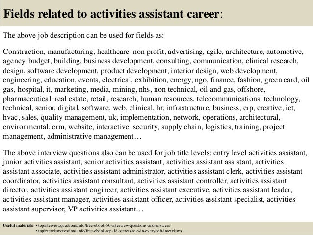 Activities Assistant Cover Letter