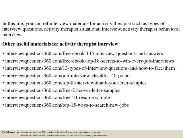 Top 10 activity therapist interview questions and answers