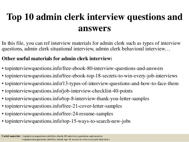 top 10 admin clerk interview questions and answers in this file you can ref interview - Resume Sample For Admin Clerk