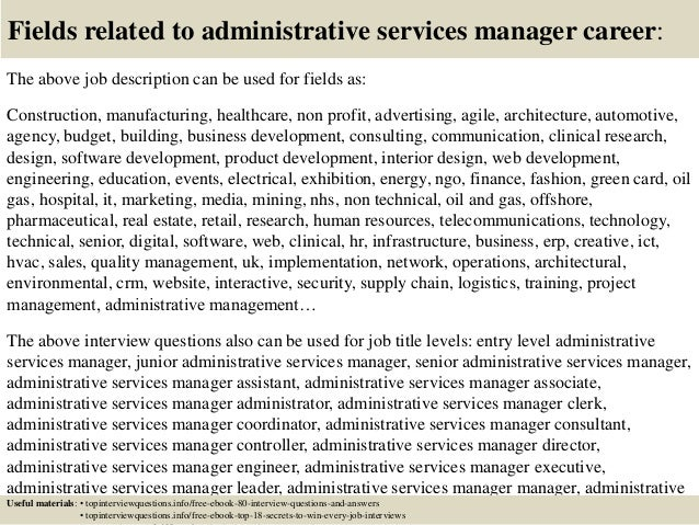 Delightful Fields Related To Administrative Services Manager Career: The Above Job .