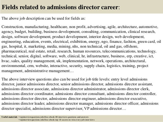 17 fields related to admissions director - Director Of Admissions Cover Letter