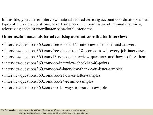 Top 10 advertising account coordinator interview questions and answers