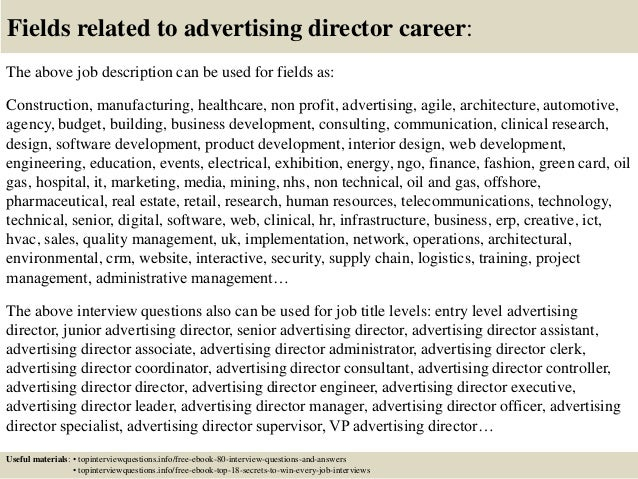 Top 10 advertising director interview questions and answers