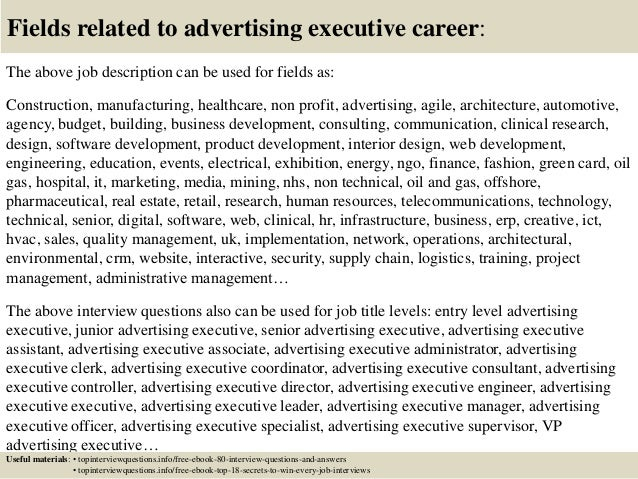 gallery of advertising executive job description top 10 advertising executive interview questions and answers - Advertising Executive Job Description