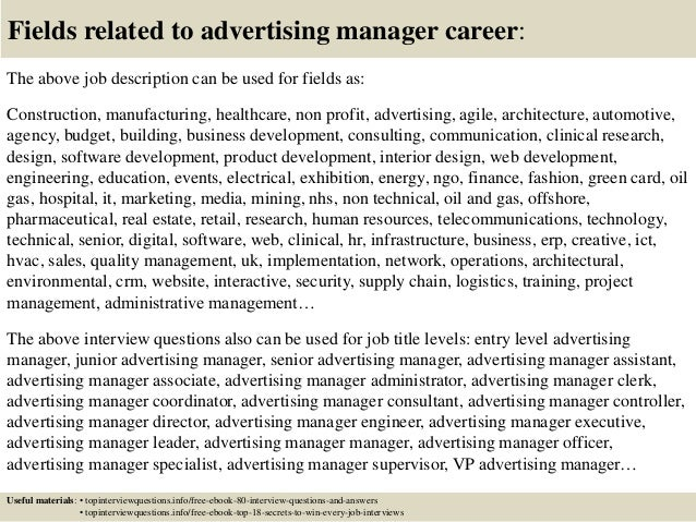 17 fields related to advertising manager career the above job description - Advertising Manager Job Description