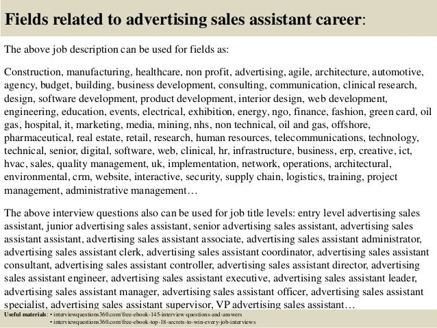 Top 10 advertising sales assistant interview questions and answers