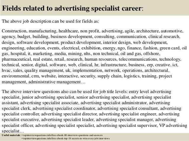17 fields related to advertising specialist - Advertising Specialist