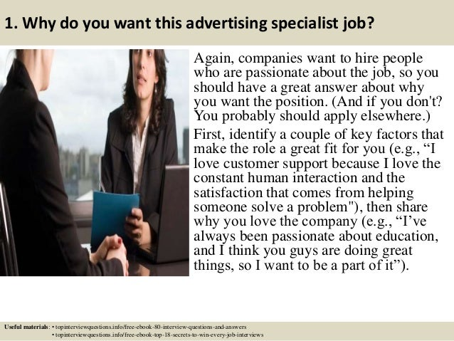 2 1 why do you want this advertising specialist - Advertising Specialist