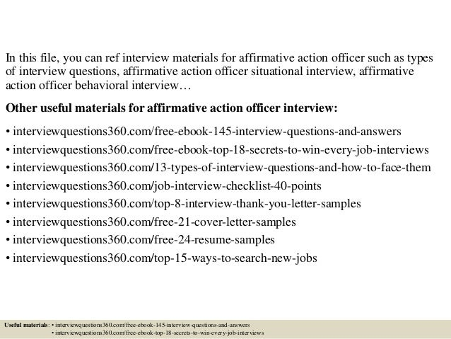 Top 10 Affirmative Action Officer Interview Questions And Answers
