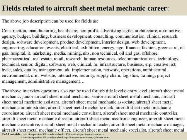 sheet metal mechanic resume