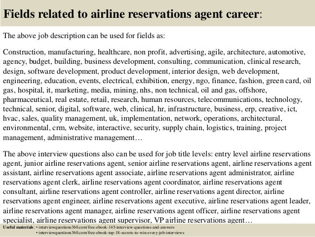 Top 10 airline reservations agent interview questions and answers