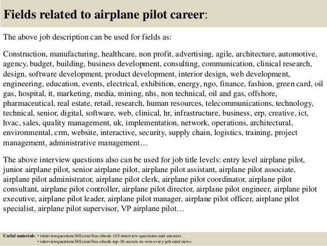 18 fields related to airplane pilot career - Airline Pilot Job Interview Questions And Answers