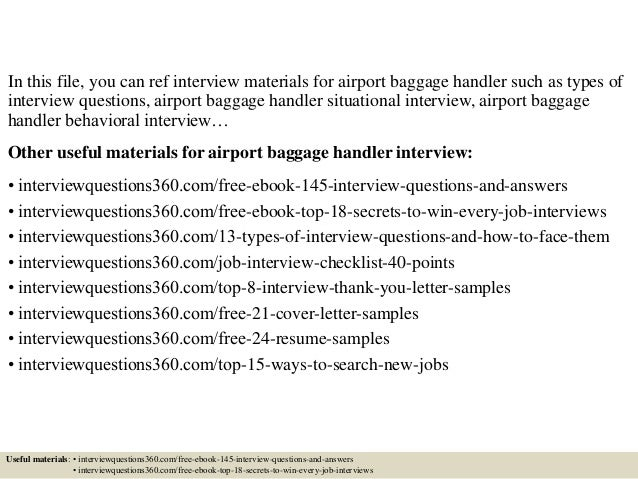 Top 10 airport baggage handler interview questions and answers