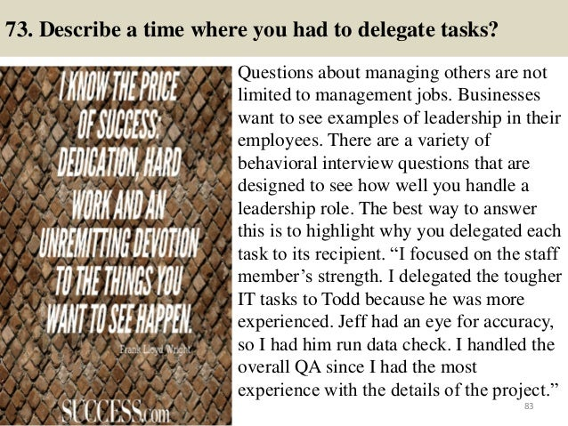 describe a time interview questions