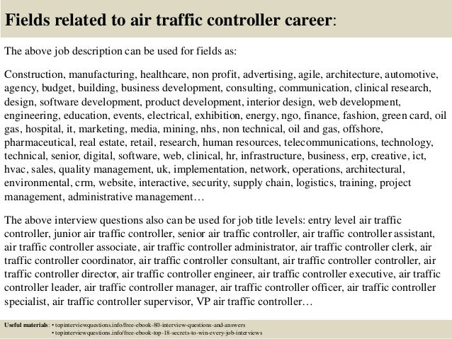 17 fields related to air traffic controller career the above job description - Air Traffic Control Engineer Sample Resume