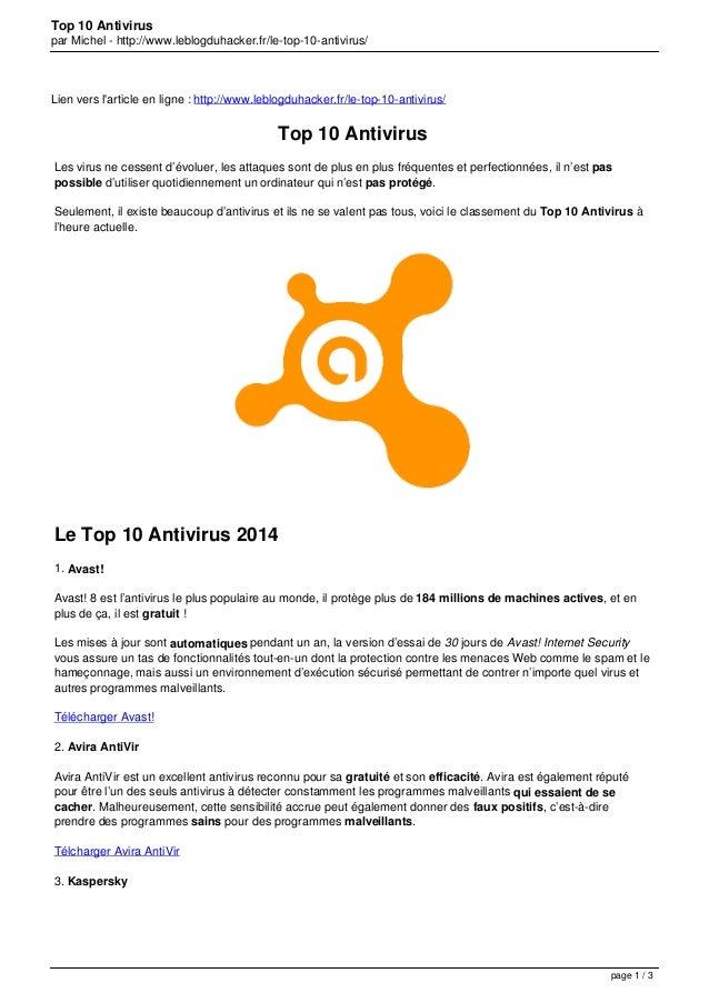 Top 10 Antivirus par Michel - http://www.leblogduhacker.fr/le-top-10-antivirus/ Lien vers l'article en ligne : http://www....
