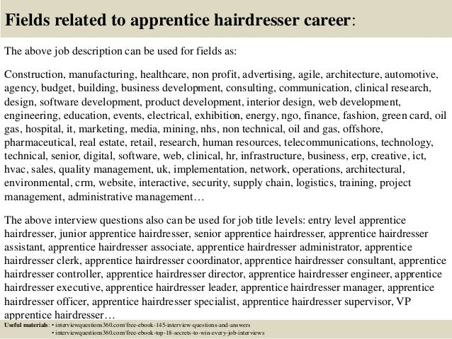 18 fields related to apprentice hairdresser career the above job description - Hairdresser Job Description