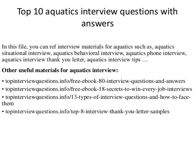 Top 10 Aquatics Interview Questions With Answers In This File, You Can Ref  Interview Materials ...