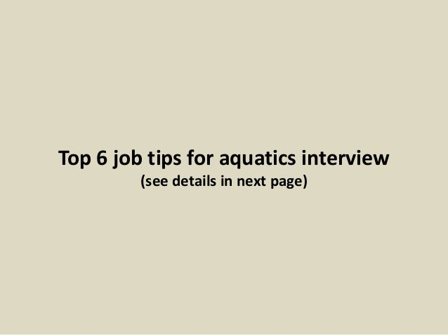 13 top 6 job tips for aquatics - Aquatic Director Jobs