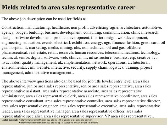 Top 10 area sales representative interview questions and ...