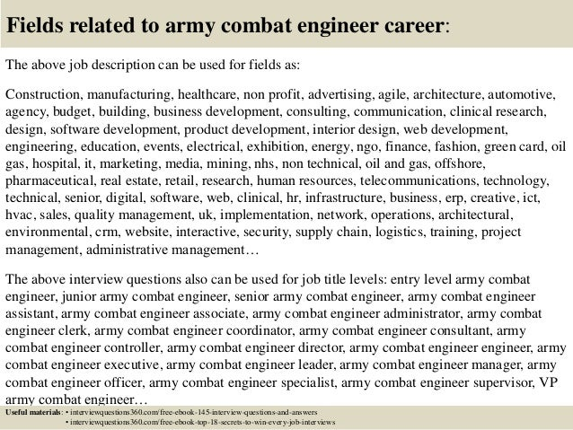 Top 10 army combat engineer interview questions and answers