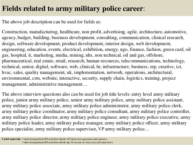 Military Police Officer Job Description Connect With Us 18 Fields Related  To Army Military Police Career
