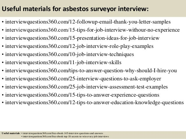 15 useful materials for asbestos surveyor - Asbestos Surveyor Cover Letter