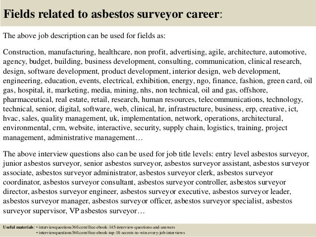 18 fields related to asbestos surveyor - Asbestos Surveyor Cover Letter
