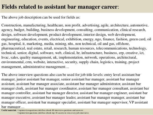 Top 10 assistant bar manager interview questions and answers