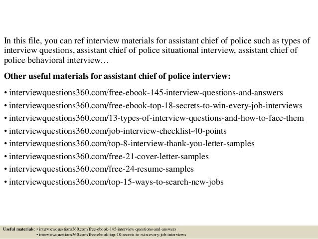 top 10 assistant chief of police interview questions and answers - Police Chief Cover Letter