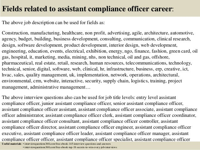 Top 10 Assistant Compliance Officer Interview Questions