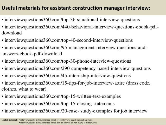 Beautiful ... 13. Useful Materials For Assistant Construction Manager Interview: ...